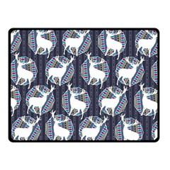 Geometric Deer Retro Pattern Double Sided Fleece Blanket (small)