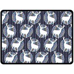 Geometric Deer Retro Pattern Double Sided Fleece Blanket (Large)