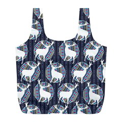 Geometric Deer Retro Pattern Full Print Recycle Bags (l)  by DanaeStudio