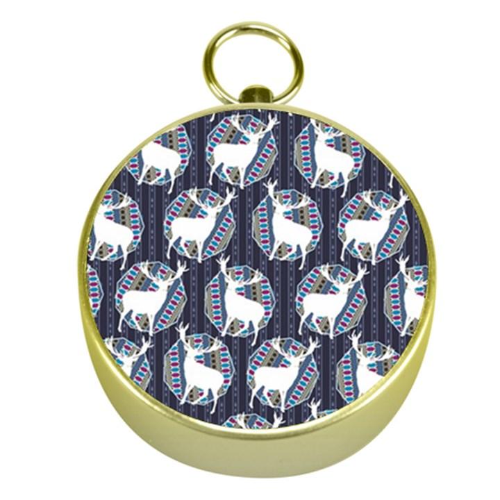 Geometric Deer Retro Pattern Gold Compasses