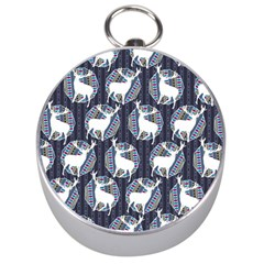 Geometric Deer Retro Pattern Silver Compasses by DanaeStudio