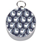 Geometric Deer Retro Pattern Silver Compasses