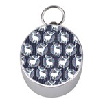 Geometric Deer Retro Pattern Mini Silver Compasses