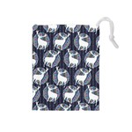 Geometric Deer Retro Pattern Drawstring Pouches (Medium)