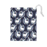 Geometric Deer Retro Pattern Drawstring Pouches (Large)  Front