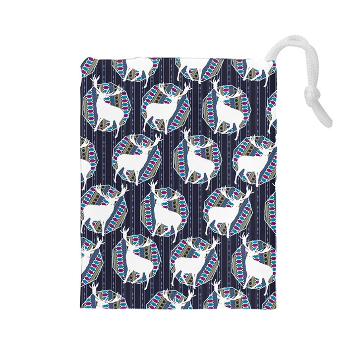 Geometric Deer Retro Pattern Drawstring Pouches (Large)