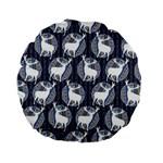 Geometric Deer Retro Pattern Standard 15  Premium Flano Round Cushions Back