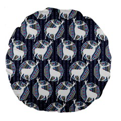 Geometric Deer Retro Pattern Large 18  Premium Flano Round Cushions by DanaeStudio