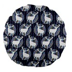 Geometric Deer Retro Pattern Large 18  Premium Flano Round Cushions