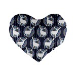 Geometric Deer Retro Pattern Standard 16  Premium Flano Heart Shape Cushions