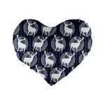 Geometric Deer Retro Pattern Standard 16  Premium Flano Heart Shape Cushions Back