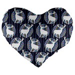 Geometric Deer Retro Pattern Large 19  Premium Flano Heart Shape Cushions