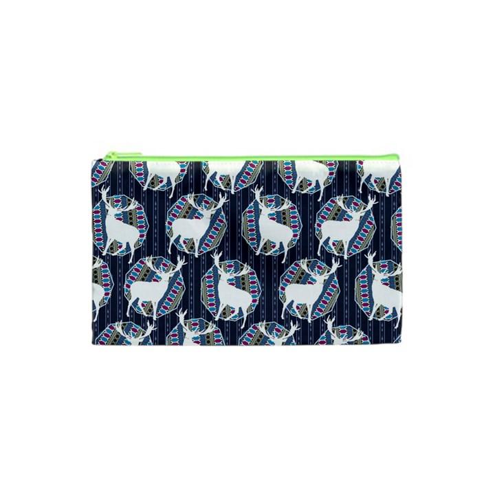 Geometric Deer Retro Pattern Cosmetic Bag (XS)