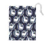 Geometric Deer Retro Pattern Drawstring Pouches (Extra Large) Front