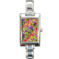Colorful Mosaic Rectangle Italian Charm Watch by DanaeStudio