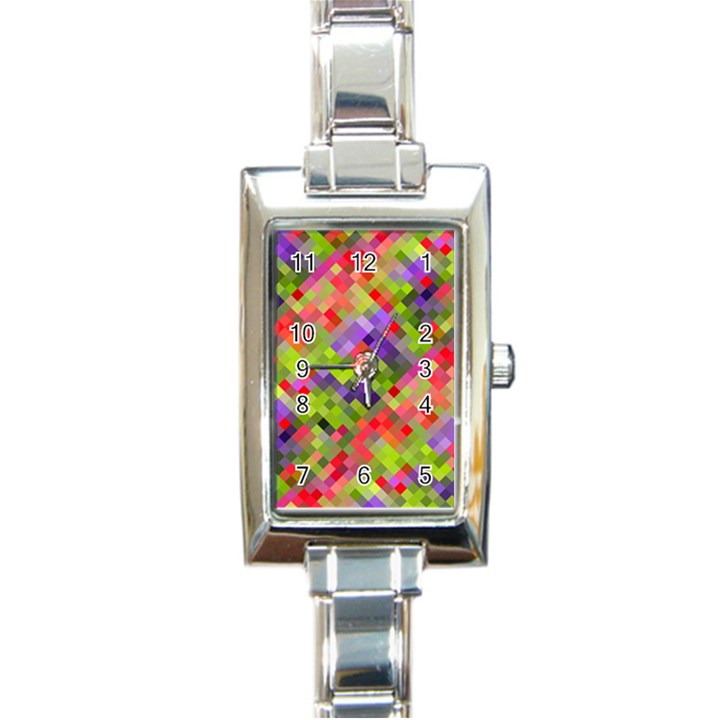 Colorful Mosaic Rectangle Italian Charm Watch