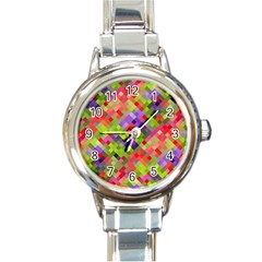 Colorful Mosaic Round Italian Charm Watch by DanaeStudio