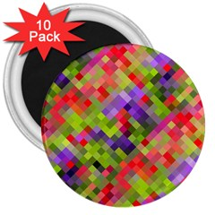 Colorful Mosaic 3  Magnets (10 Pack)