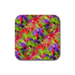 Colorful Mosaic Rubber Coaster (square)  by DanaeStudio