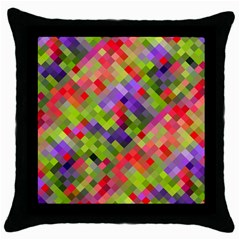 Colorful Mosaic Throw Pillow Case (black) by DanaeStudio