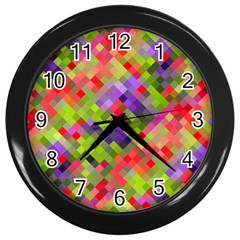Colorful Mosaic Wall Clocks (black) by DanaeStudio