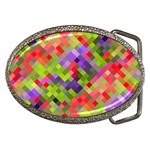 Colorful Mosaic Belt Buckles Front