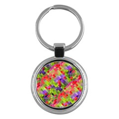 Colorful Mosaic Key Chains (round)  by DanaeStudio