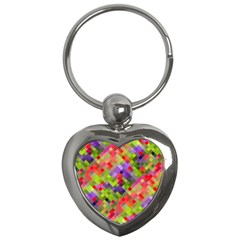 Colorful Mosaic Key Chains (heart)  by DanaeStudio