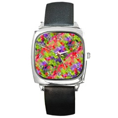 Colorful Mosaic Square Metal Watch by DanaeStudio