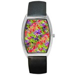 Colorful Mosaic Barrel Style Metal Watch Front