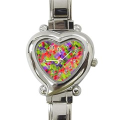 Colorful Mosaic Heart Italian Charm Watch by DanaeStudio