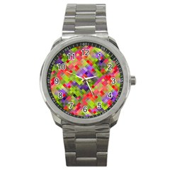 Colorful Mosaic Sport Metal Watch by DanaeStudio