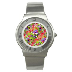 Colorful Mosaic Stainless Steel Watch by DanaeStudio