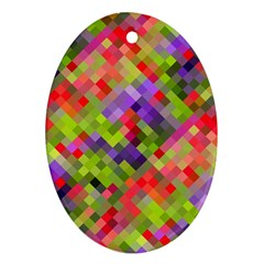 Colorful Mosaic Oval Ornament (two Sides) by DanaeStudio