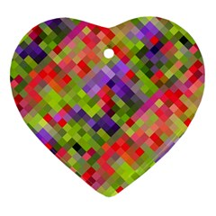 Colorful Mosaic Heart Ornament (2 Sides) by DanaeStudio