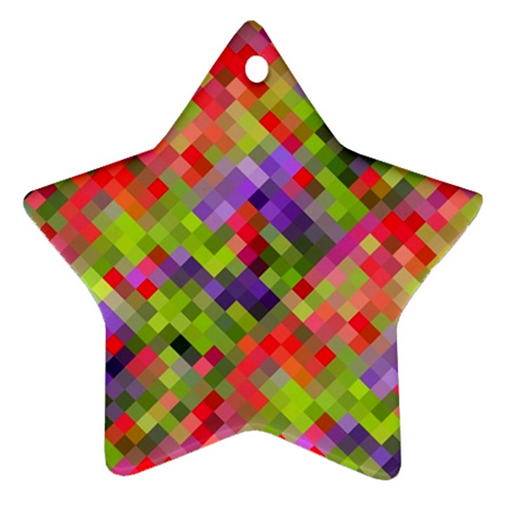 Colorful Mosaic Star Ornament (Two Sides)