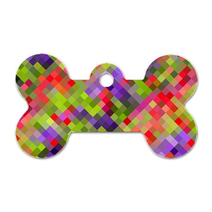 Colorful Mosaic Dog Tag Bone (One Side)