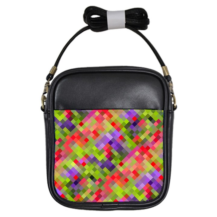 Colorful Mosaic Girls Sling Bags