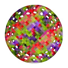 Colorful Mosaic Round Filigree Ornament (2side) by DanaeStudio