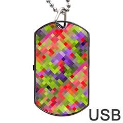 Colorful Mosaic Dog Tag Usb Flash (one Side)