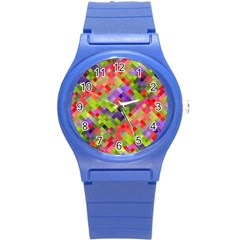 Colorful Mosaic Round Plastic Sport Watch (s) by DanaeStudio