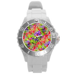 Colorful Mosaic Round Plastic Sport Watch (l) by DanaeStudio