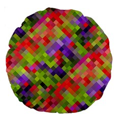 Colorful Mosaic Large 18  Premium Round Cushions by DanaeStudio