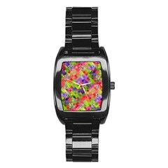 Colorful Mosaic Stainless Steel Barrel Watch by DanaeStudio