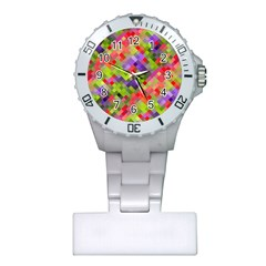 Colorful Mosaic Plastic Nurses Watch by DanaeStudio