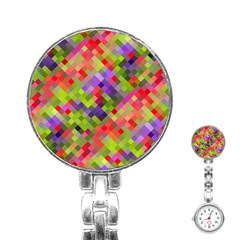 Colorful Mosaic Stainless Steel Nurses Watch by DanaeStudio
