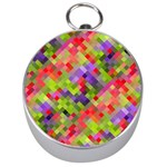 Colorful Mosaic Silver Compasses Front