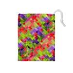 Colorful Mosaic Drawstring Pouches (Medium)  Front