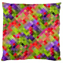 Colorful Mosaic Large Flano Cushion Case (two Sides) by DanaeStudio