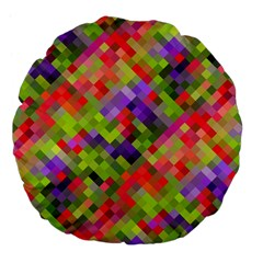 Colorful Mosaic Large 18  Premium Flano Round Cushions by DanaeStudio